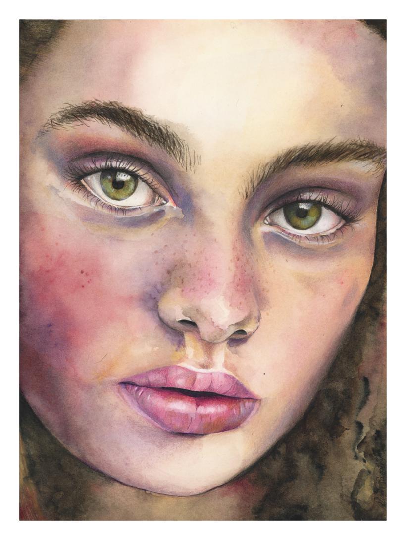 """Bridgit"" - watercolour and colour pencil painting"