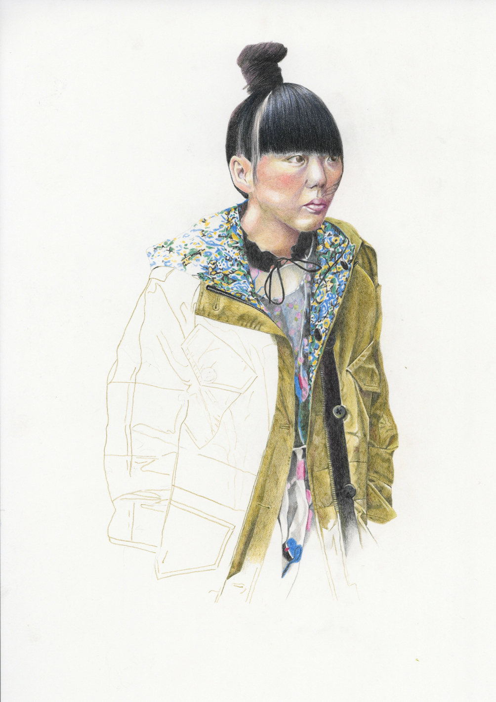 Colour Pencil fashion llustration of Suzie Bubble by Alison Sargent