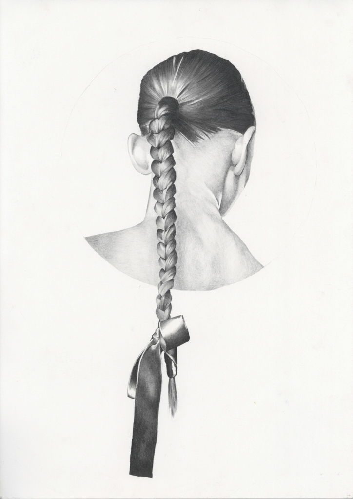 Graphite pencil illustration of hair braid