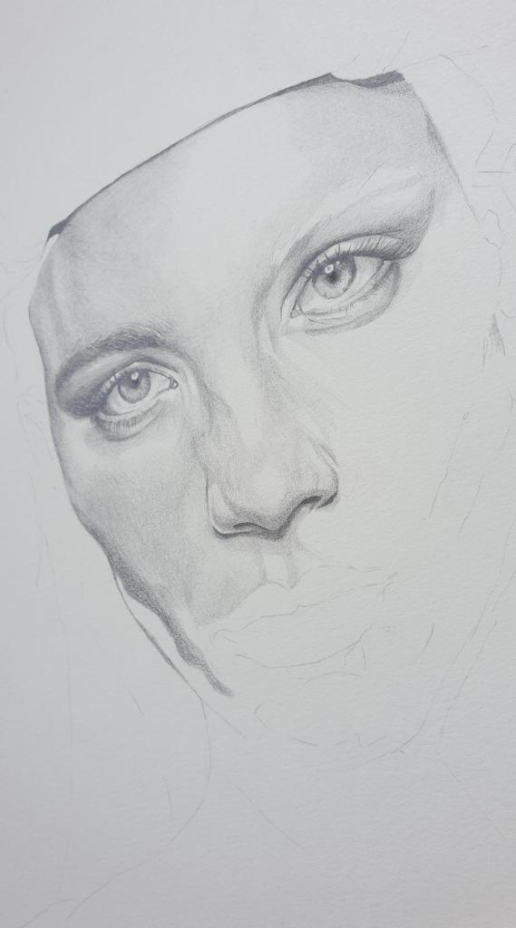 """Rebecca Longendyke"" - graphite pencil and watercolour - work in progress"