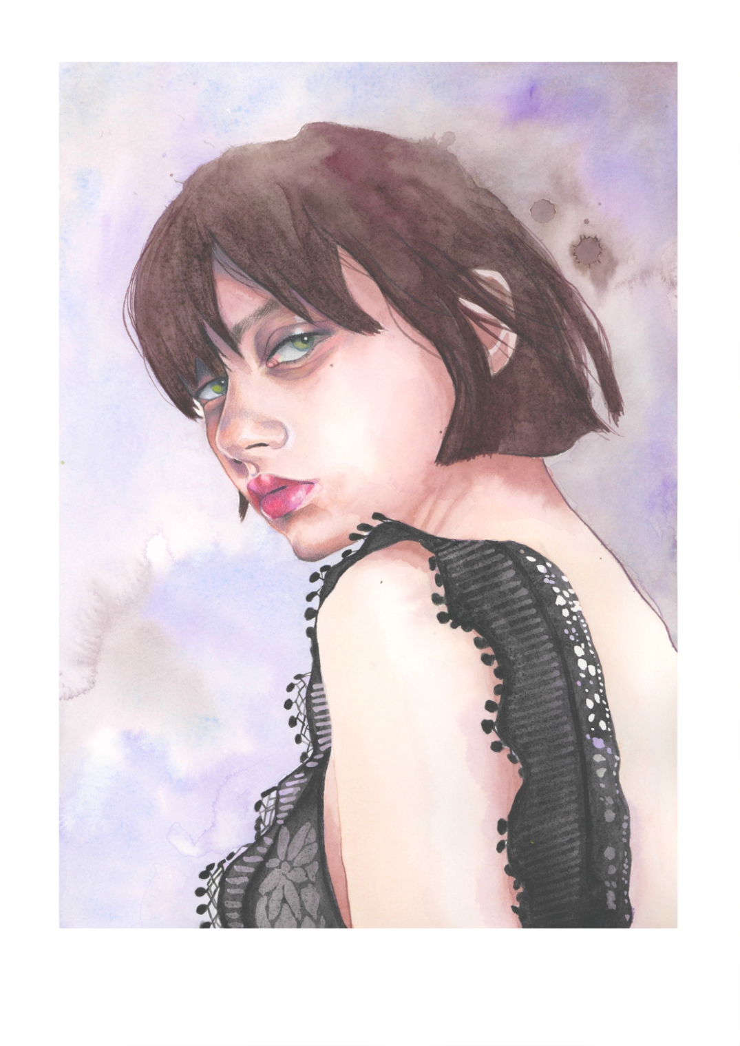 """Sofia Steinberg"" - watercolour and colour pencil fashion illustration by Alison Sargent"
