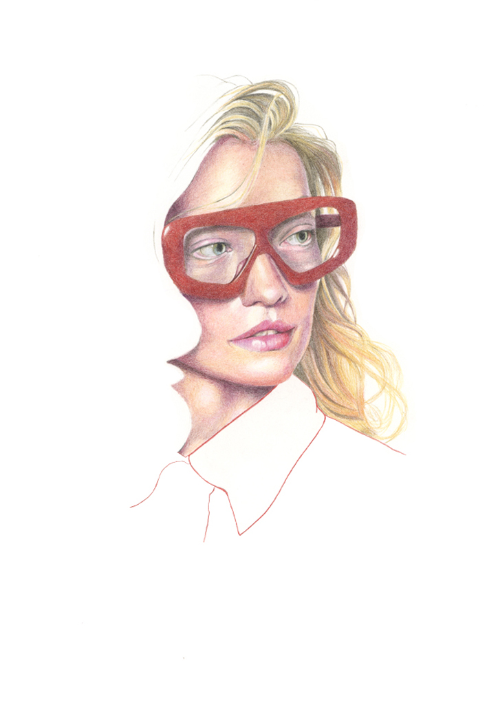 """Pushbutton - Spring 2020"" colour pencil fashion illustration by Alison Sargent"
