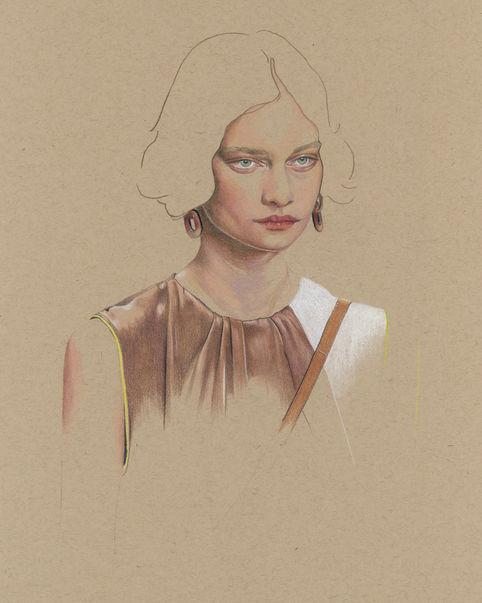 """Tods - Spring 2020"" - colour pencil illustration (work in progress)"